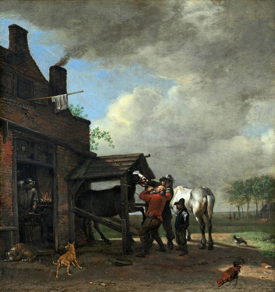 Painting - A Farrier's Shop by Paulus Potter