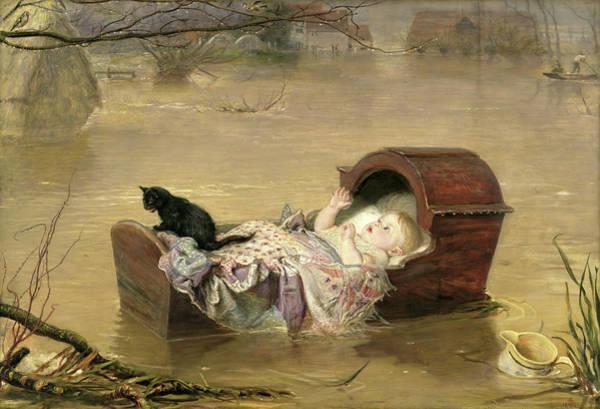 Millais Painting - A Flood  by John Everett Millais