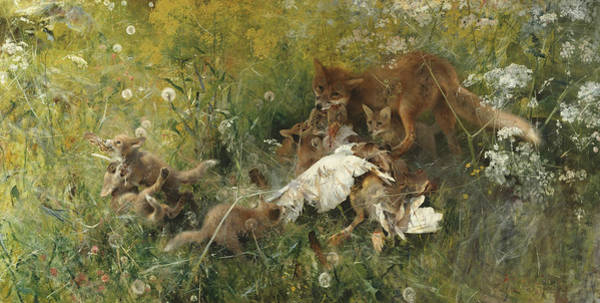 Swedish Painters Wall Art - Painting - A Fox Family by Bruno Liljefors