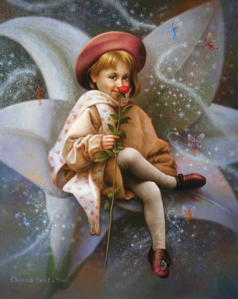 Wall Art - Painting - A Girl And A Fairy Of 7 by Yoo Choong Yeul
