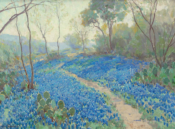 Painting - A Hillside Of Blue Bonnets - Early Morning, Near San Antonio Texas by Julian Onderdonk