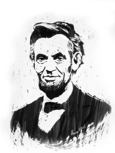 Famous People Drawing - A. Lincoln by Harry West
