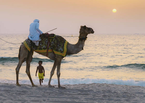 Photograph - Little Boy Stares In Amazement At A Camel Riding On Marina Beach In Dubai, United Arab Emirates -  by Alexandre Rotenberg