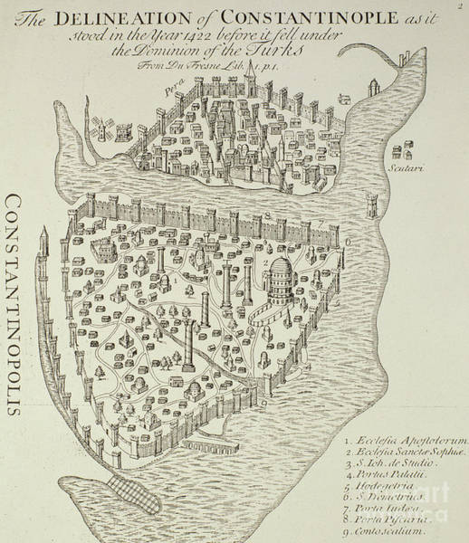 Drawing - A Map Of Constantinople In 1422 by Cristoforo Buondelmonti