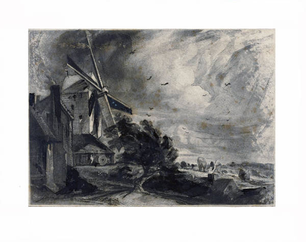 Painting - A Mill  by David Lucas after John Constable