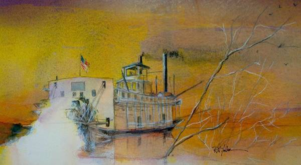 Mississippi River Wall Art - Painting - A Mississippi Sawyer by Robert Yonke