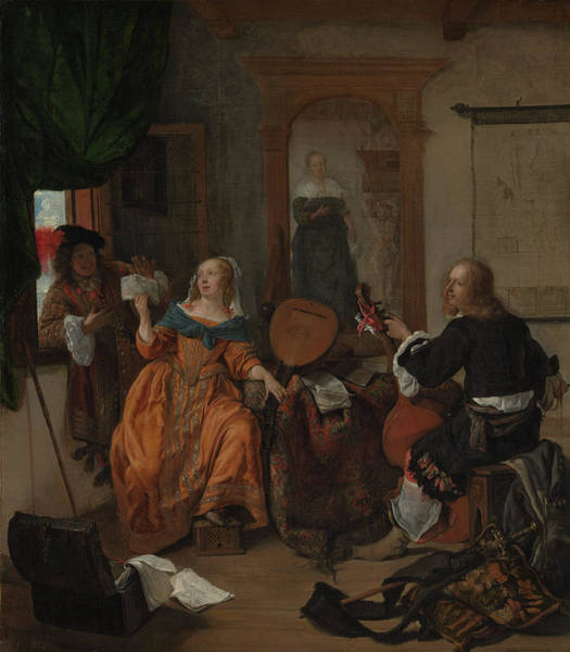 Gabriel Painting - A Musical Party by Gabriel Metsu