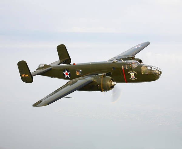 Airborne Photograph - A North American B-25 Mitchell by Scott Germain