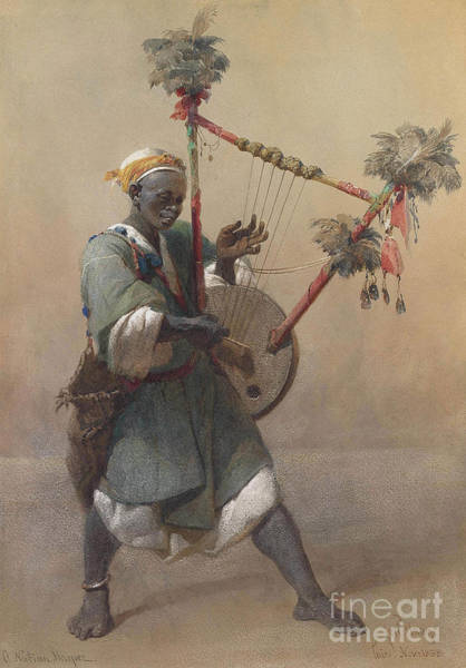 Harper Painting - A Nubian Harper by Celestial Images