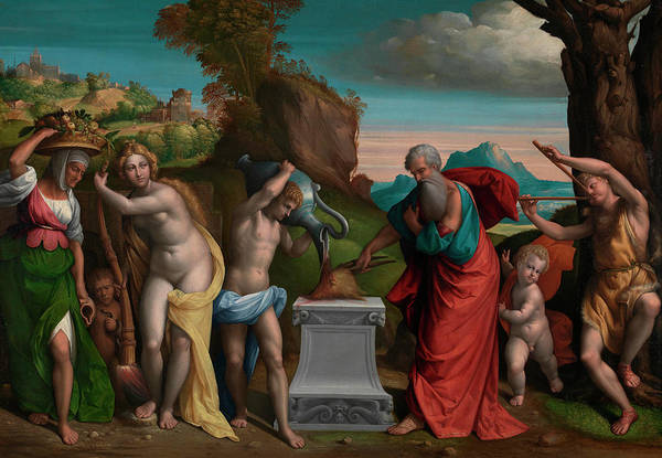 Elderly Painting - A Pagan Sacrifice by Garofalo