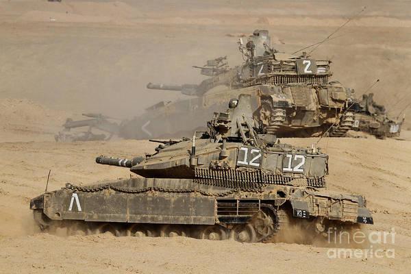 Battleground Photograph - A Pair Of Israel Defense Force Merkava by Ofer Zidon