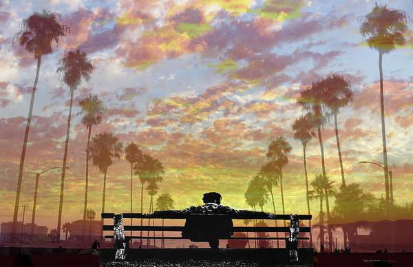 Park Bench Digital Art - Sunset Dreamer by Richard Mann
