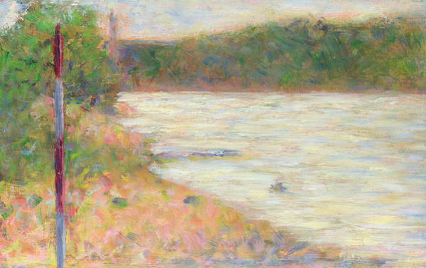 Waterway Painting - A River Bank by Georges Seurat