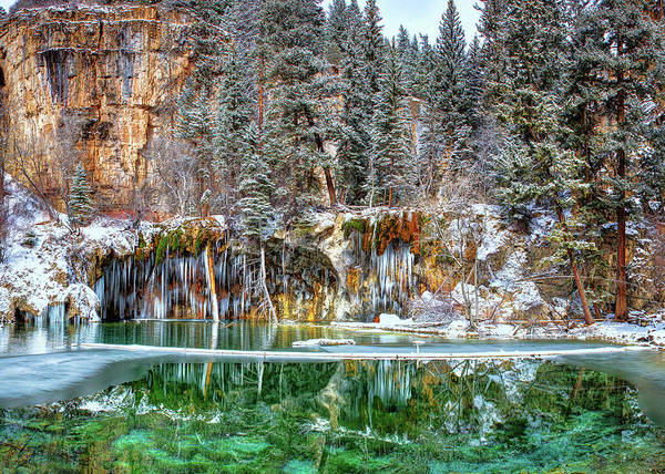Photograph - Olena Art Serene Chill Hanging Lake Photograph The Gem Of Glenwood Canyon Colorado by OLena Art Brand