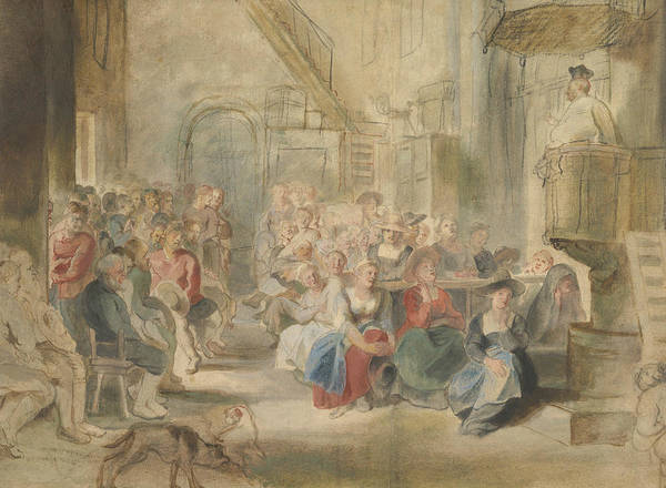Drawing - A Sermon In A Village Church by Peter Paul Rubens