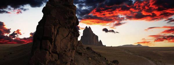 Southwest Digital Art - A Shiprock Landscape Against A Breathtaking Twilight Sky by Derrick Neill