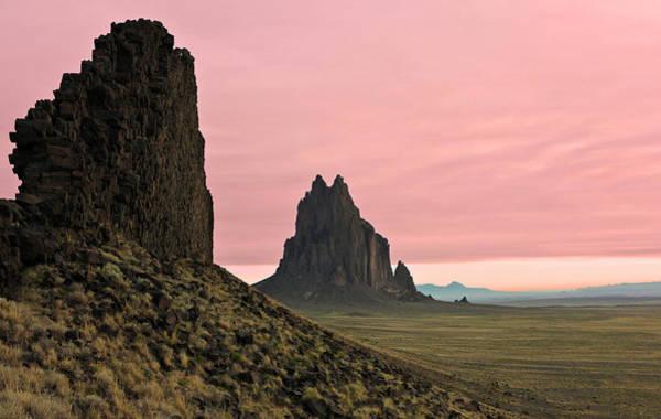 Wall Art - Photograph - A Shiprock Landscape Against A Pink Dawn Sky by Derrick Neill