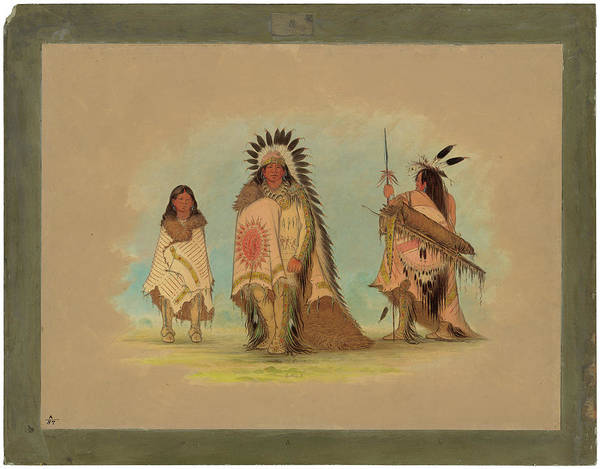 Painting - A Sioux Chief, His Daughter, And A Warrior by George Catlin