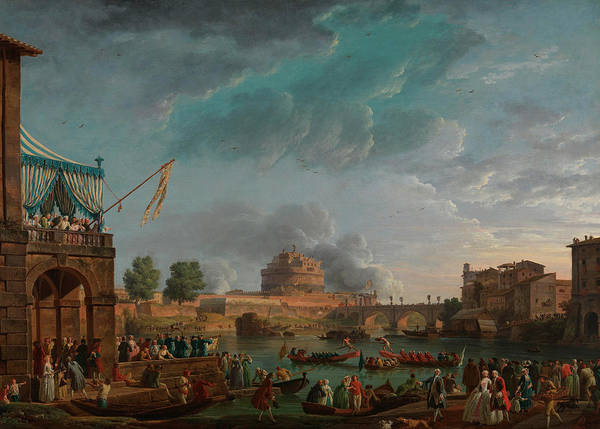 Competition Painting - A Sporting Contest On The Tiber At Rome by Claude-Joseph Vernet