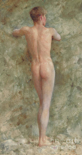 Butt Painting - A Standing Male Nude by Henry Scott Tuke