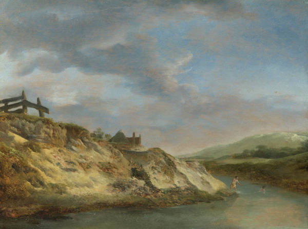 Waterway Painting - A Stream In The Dunes, With Two Bathers by Philips Wouwerman