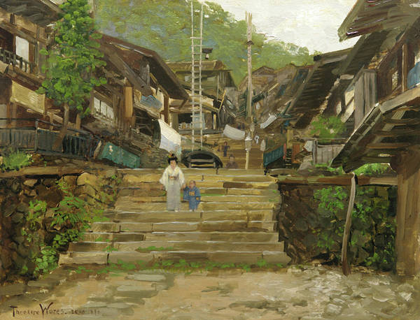 Neighborhood Painting - A Street In Ikao by Theodore Wores