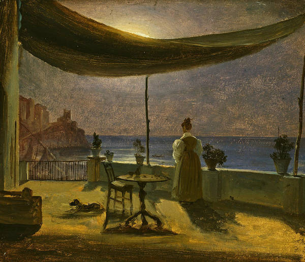 Painting - A Terrace In Amalfi In Moonlight by Thomas Fearnley