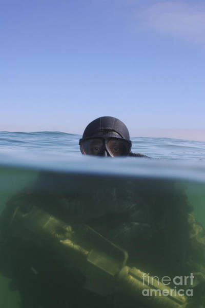 Photograph - A U.s. Navy Seal Combat Swimmer by Michael Wood