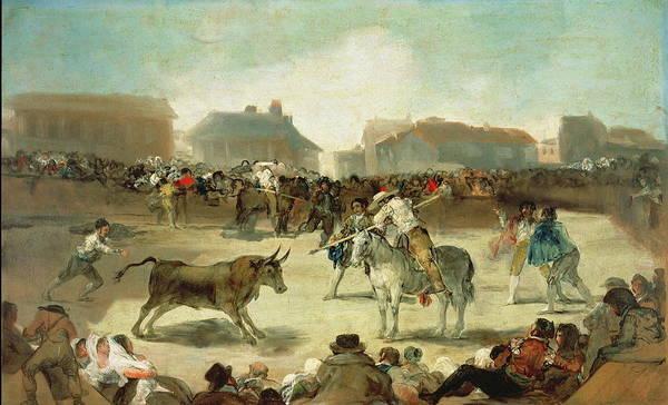 Spanish Wine Painting - A Village Bullfight by Francisco Goya