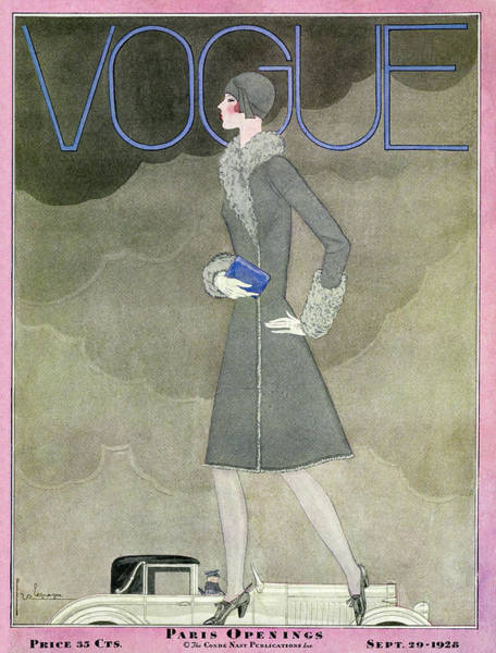 Auto Photograph - A Vintage Vogue Magazine Cover From 1928 by Georges Lepape