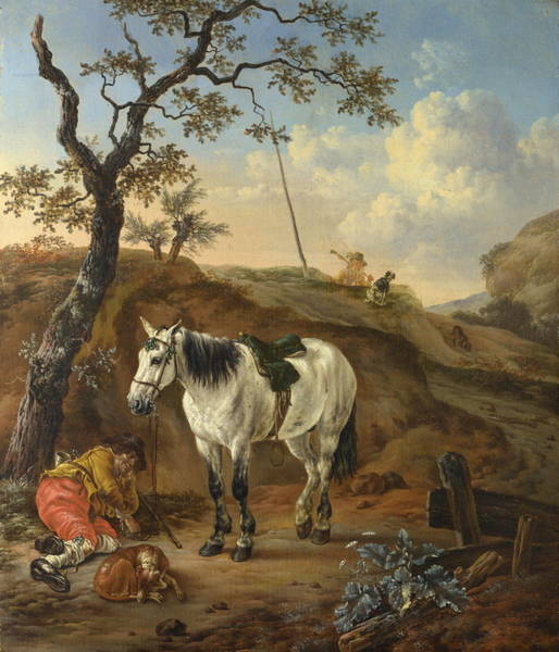 Interaction Painting - A White Horse Standing By A Sleeping Man by Pieter Verbeeck