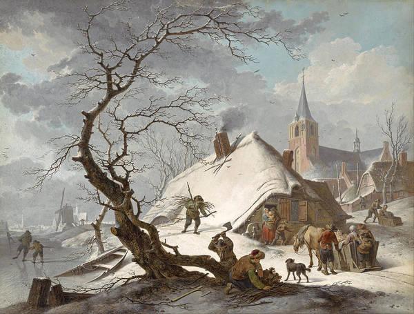 Meyer Painting - A Winter Scene by Hendrik Meyer