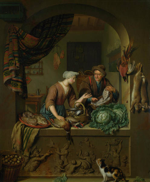 Waterway Painting - A Woman And A Fish-pedlar In A Kitchen by Willem van Mieris