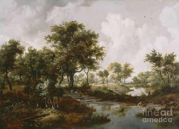 Meindert Hobbema Painting - A Wooded Landscape by Celestial Images