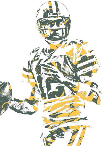 Wall Art - Mixed Media - Aaron Rodgers Green Bay Packers Pixel Art 23 by Joe Hamilton