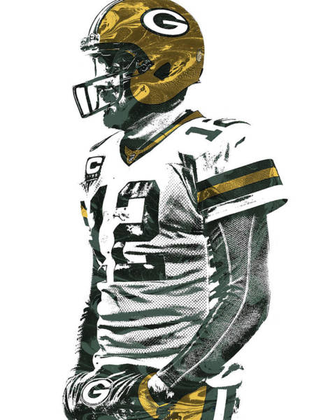 Green Fields Mixed Media - Aaron Rodgers Green Bay Packers Pixel Art 5 by Joe Hamilton