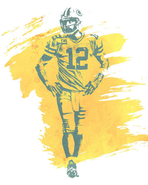 Wall Art - Mixed Media - Aaron Rodgers Green Bay Packers Water Color Art 1 by Joe Hamilton