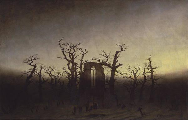 Painting - Abbey Among Oak Trees by Caspar David Friedrich