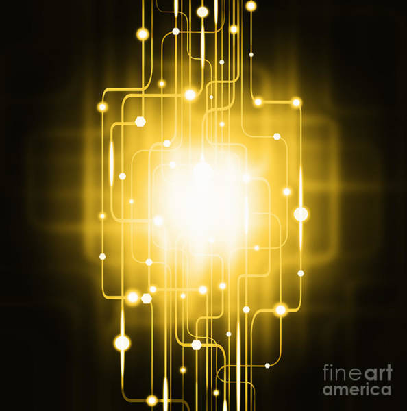 Orb Photograph - Abstract Circuit Board Lighting Effect  by Setsiri Silapasuwanchai