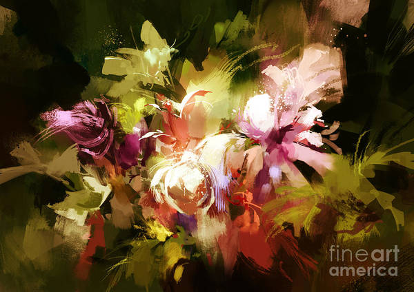 Art Print featuring the painting Abstract Flowers by Tithi Luadthong