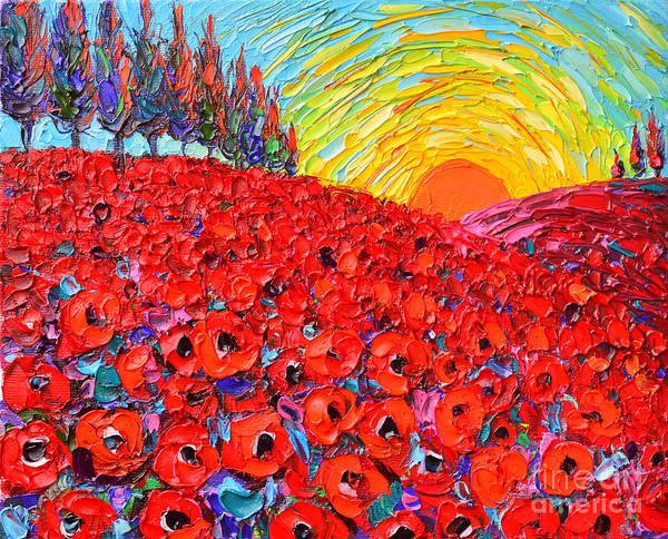 Painting - Abstract Landscape Tuscany Poppy Hills At Sunset by Ana Maria Edulescu