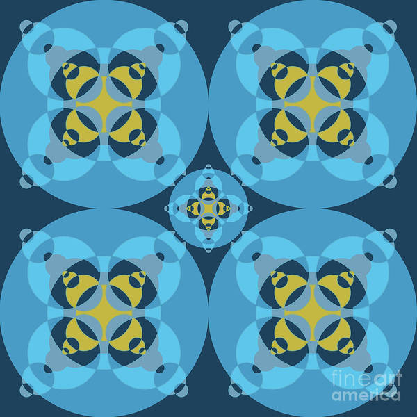 Wall Art - Digital Art - Abstract Mandala Cyan, Dark Blue And Yellow Pattern For Home Decoration by Drawspots Illustrations