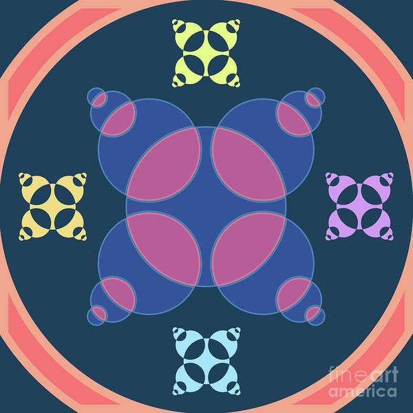Wall Art - Digital Art - Abstract Mandala Pink, Dark Blue And Cyan Pattern For Home Decoration by Drawspots Illustrations