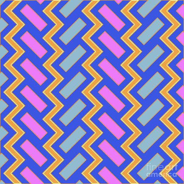 Wall Art - Digital Art - Abstract Orange, Pink And Blue Pattern For Home Decoration by Drawspots Illustrations
