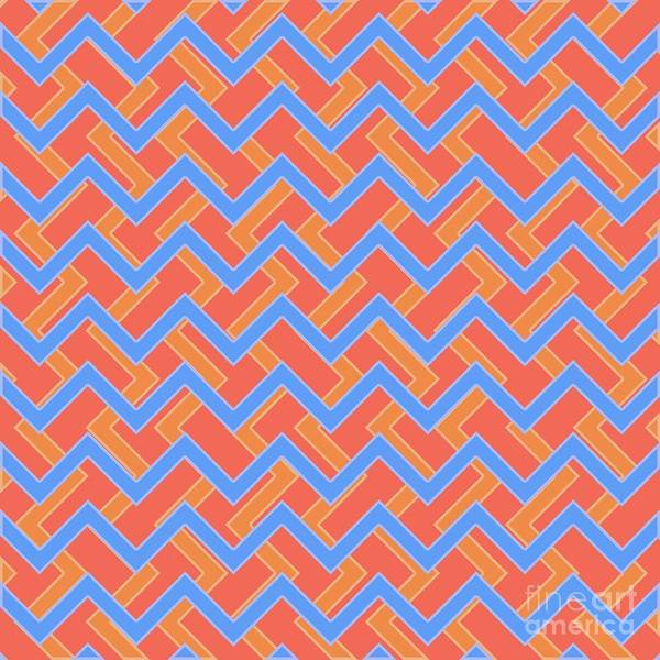 Wall Art - Digital Art - Abstract Orange, Red And Cyan Pattern For Home Decoration by Drawspots Illustrations