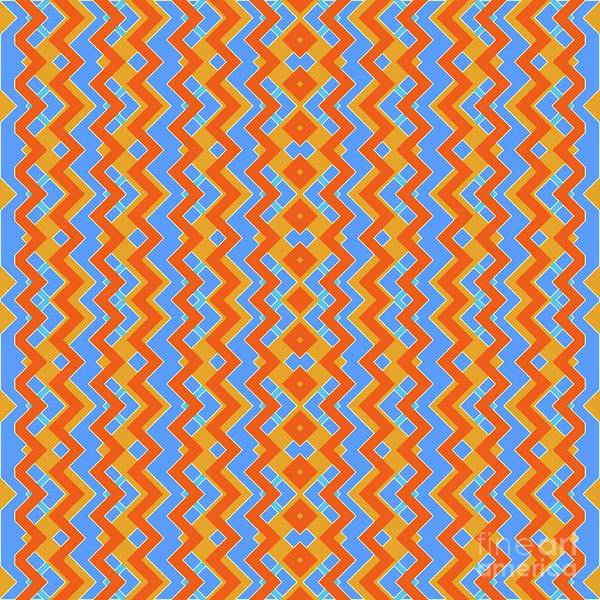 Wall Art - Digital Art - Abstract Orange, White And Cyan Pattern For Home Decoration by Drawspots Illustrations