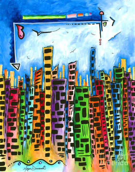 Wall Art - Painting - Abstract Pop Art Style Unique Cityscape Skyline Painting By Megan Duncanson by Megan Duncanson