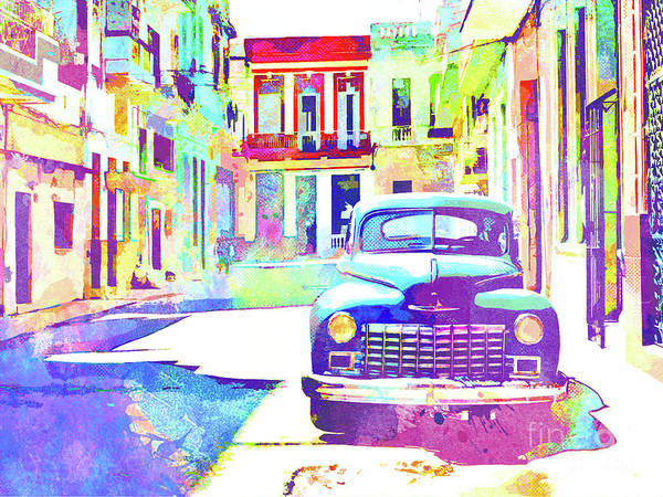 Wall Art - Painting - Abstract Watercolor - Havana Cuba Classic Car IIi by Chris Andruskiewicz
