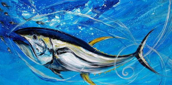 Painting - Abstract Yellow Fin Tuna by J Vincent Scarpace