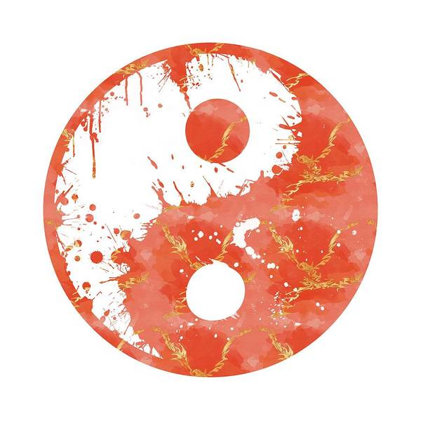 Digital Paint Digital Art - Abstract Yin And Yang Taijitu Symbol by Melanie Viola